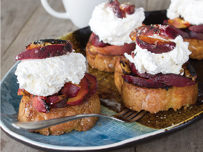 Grilled Pound Cake and Peaches with Bourbon Whipped Cream